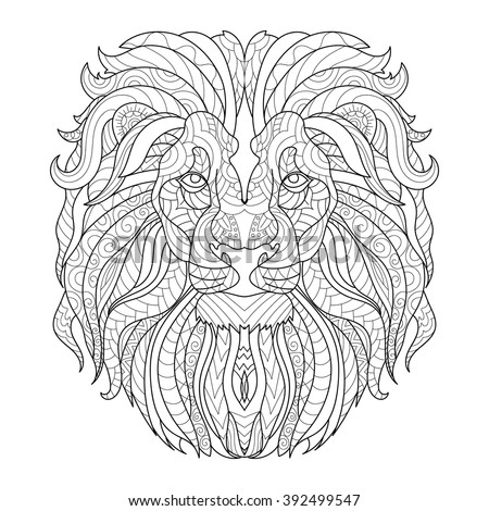 color therapy coloring pages lion king | Vector Black White Lion King Illustration Stock Vector ...