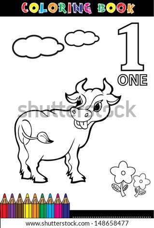 Coloring page cartoon illustration of a Number. 1 with a circus for children's education and fun.
