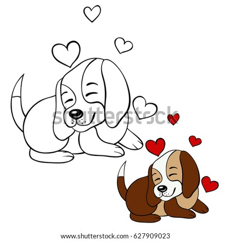 Coloring Page For Children Beagle DogCartoon Style Illustration