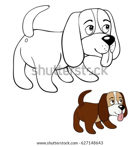 Coloring Page Little DogCartoon Style Illustration