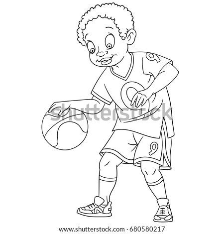 kid playing basketball coloring pages - photo#13