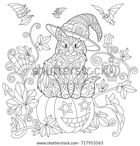 Coloring Page Of Cat In A Hat Sitting On A Halloween Pumpkin, Flying Bats,