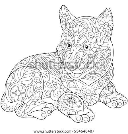Coloring Page Dachshund Puppy Dog Symbol Stock Vector