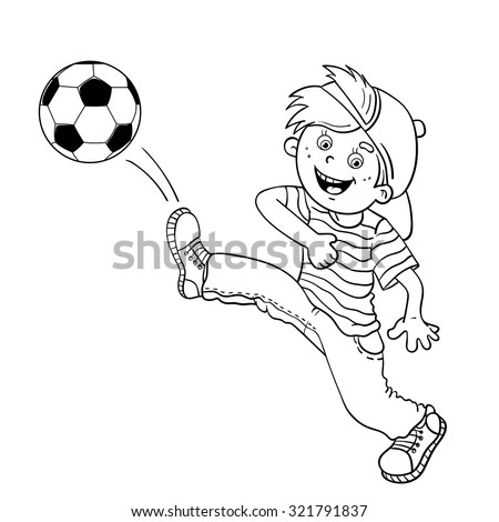 Outlined Young Girl Playing Soccer Vector Stock Vector