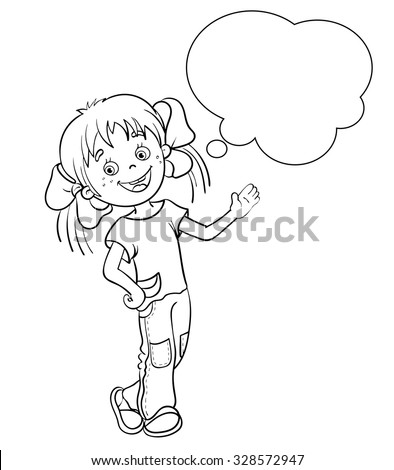 Coloring Page Outline Cartoon Girl Pencil Stock Vector 328572968