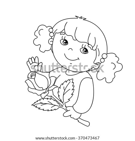 Coloring Page Outline Cute Girl Card Stock Vector 370456103