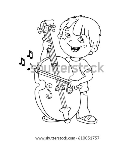 coloring page outline of cartoon boy playing the cello musical instruments coloring book for