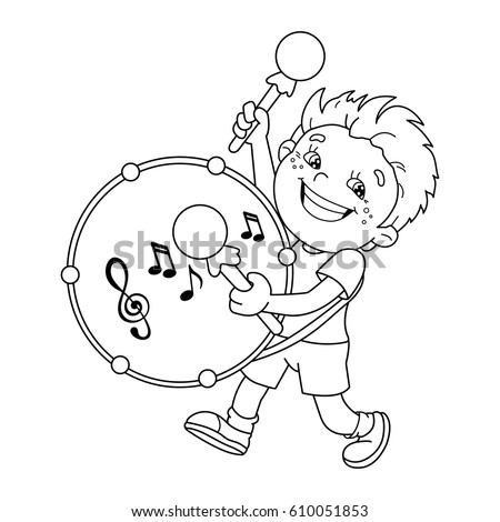 Coloring Page Outline Cartoon Boy Girl Stock Vector 424589890
