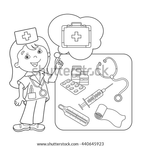 coloring page outline of cartoon doctor with first aid kit set of medical instruments