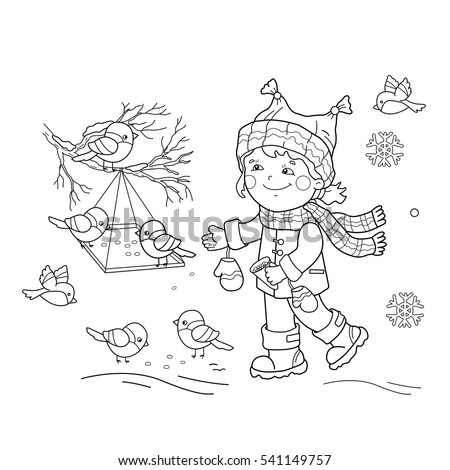 Coloring Page Outline Funny Bird Winter Stock Vector 336598607