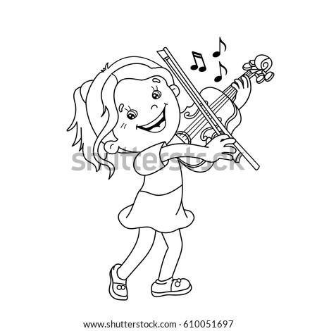 Coloring Page Outline Cartoon Girl Playing Stock Vector 424589896