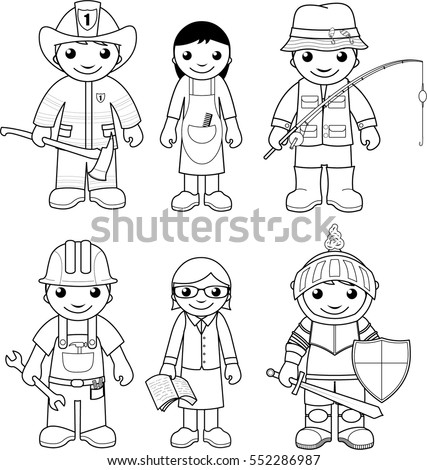 Cute little fairy girl coloring page stock vector for Different coloring pages