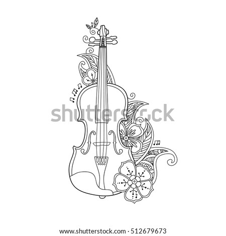 Coloring page violin with flowers and leafs in floral mehendi doodle style isolated on white background. Antistress coloring book for adult and children. Floral, nature style. Vector illustration.