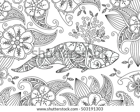 coloring page with ornate whale on flower background horizontal composition coloring book for adult