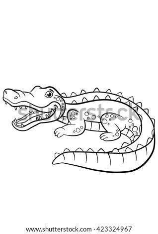 Coloring Pages Alligators Four Little Cute Stock Vector 432249031