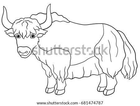 Coloring Pages Cute Beautiful Yak Stands And Smiles
