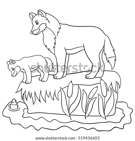 coloring pages farm animals mother horse stock vector 443341804 shutterstock. Black Bedroom Furniture Sets. Home Design Ideas