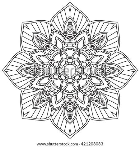 Nature Mandala Design Oriental Filigree Round Vector Stock