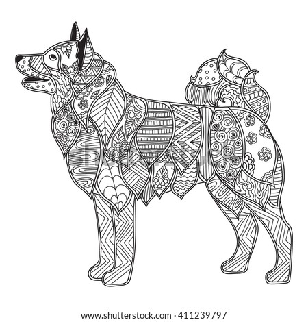 dog coloring pages for adults - hand drawn artistic ethnic ornamental patterned stock