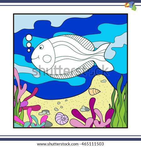 Coloring Pages For Children Vector Book Marine Fish Swimming In The Water