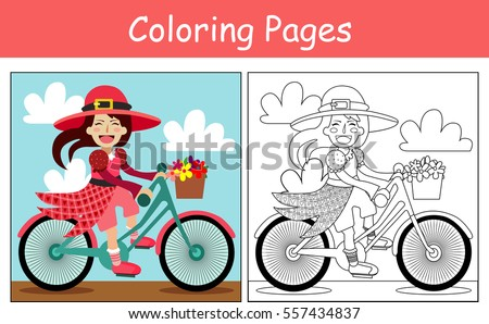 coloring pages girl in pink dress on bike