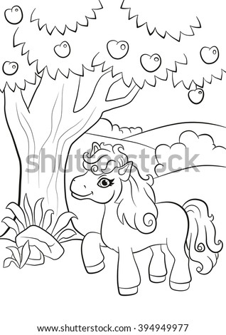 Coloring Pages Little Cute Pony Stands Under The Apple Tree And Smiling