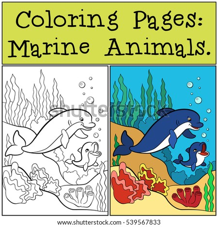 Coloring Pages Marine Animals Mother Dolphin Swims With Her Little Cute Baby Underwater