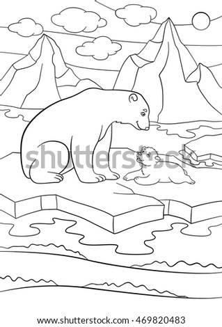 Coloring Pages Mother Polar Bear Sits Stock Vector 562196848