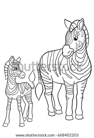 coloring pages mother zebra with her little cute baby zebra
