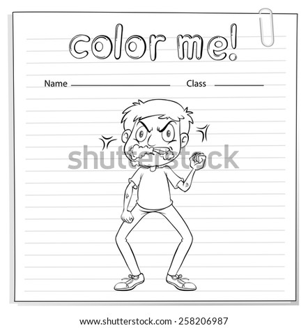 Coloring worksheet with a talkative man on a white background