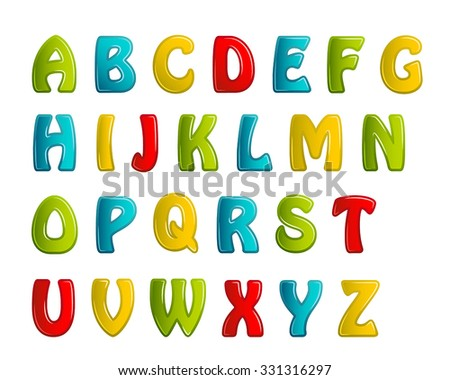 colors shiny letters holiday fonts. Vector illustration. EPS 10.
