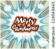 Comic book background Merry Christmas Card - stock vector
