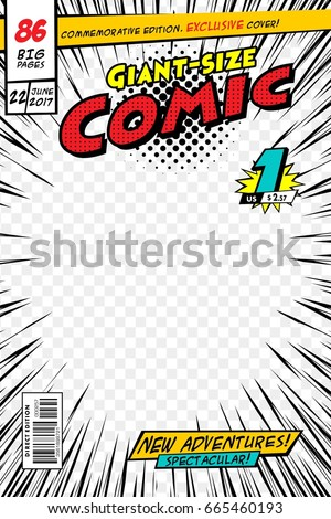 Comic Book Cover Template illustration Cartoon Editable Stock ...