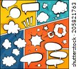 Comic Book Page Mock-Up. Set of Speech Bubbles and Halftone Backgrounds. - stock