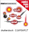 comic book style bombs boom bam wow pow ops  explode - stock