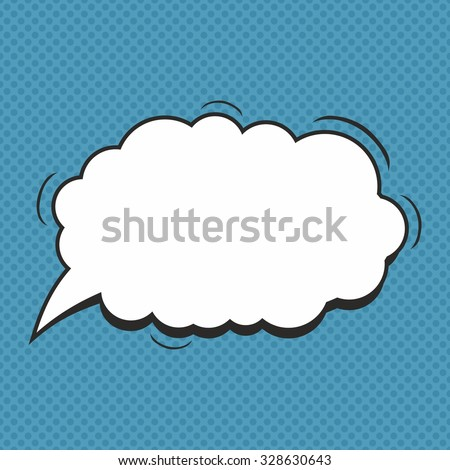 Comic style speech bubble on a blue background. Vector Illustration.