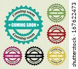 Coming soon vintage stamp and sticker - Vector illustration. - stock