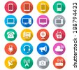 Communication device flat color icons - stock vector
