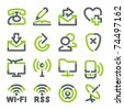 Communication icons. Green gray contour series. - stock photo