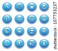 Communication icons on blue buttons, set 2. - stock vector