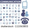 communication icons set, vector - stock photo