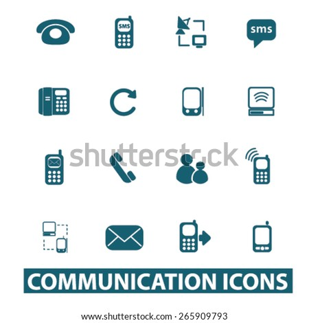 communication icons, signs, illustrations design concept set for appliciation, website, vector on white background