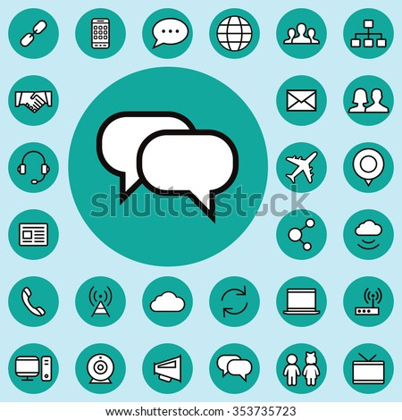 communication outline, thin, flat, digital icon set for web and mobile