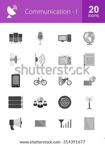 Communication technology icon set. Can also be used for media, network, connection. Suitable for web apps, mobile apps and print media.