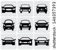 compact and luxury passenger car  icons ( signs ) front view- vector graphic. This illustration represents nine symbols of car's front side in black color against white background - stock