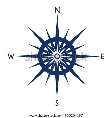 Compass rose icon isolated on white background. Vector illustration.