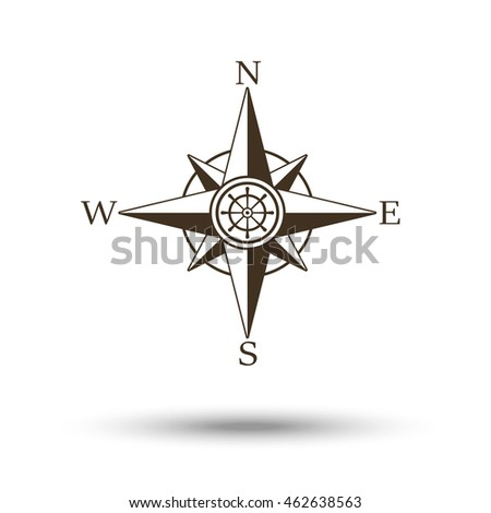 Compass wind rose icon isolated