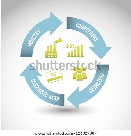 competitor analysis illustration with arrow. vector background