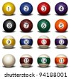 Complete Set of Billiard Balls - stock vector