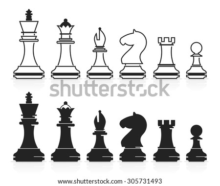 Complete set of vector chess pieces